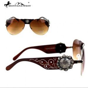 Montana West Aviator Sunglasses Coffee Color